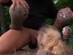 Allie James is a blonde cutie who lives in the country. Things were quiet before a strange dude appeared and made her submit to him. He tortured and fucked her outdoors.