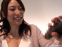 Salacious Japanese mom is having fun with her hubby nad his buddy indoors. She sucks the dudes' schlongs devotedly and seems to enjoy it a lot.