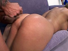 The gorgeous MILF Brianna Beach wears a tiny thong before she gets her yummy pussy licked and rammed by this horny hung dude.