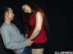 She starts this lucky guy out by using her amazing tits on his cock then she takes him into her mouth and sucks him dry.