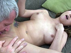 Alluring long-haired Asian chick Bliss Dulce is having fun with an elderly man indoors. They pet each other, then have oral sex and enjoy some passionate rear banging.