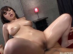 What are you waiting for? Watch this Asian brunette, with a nice ass wearing sexy lingerie, while she goes hardcore and moans stridently.
