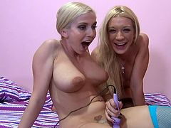 These gorgeous blonde babes celebrate the New Year getting their hot pussies drilled in this nasty FFM threesome with Porno Dan.