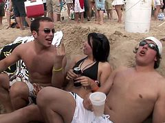 These hotties hit the beach in their tiny little bikinis, have some drinks then grind on each other as the music blasts.