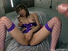 Share this with your friends! An Asian brunette, with natural boobs wearing sexy lingerie, while she touches herself with a toy before going hardcore.