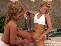 Salacious blonde milfs Ksara and Nikita Blue are having fun with two men indoors. The bitches show their cock-sucking skills to the studs and enjoy banging in the cowgirl position.