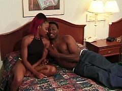 The slutty ebony Shy has nothing to do with her cute name, she rides a big black cock after giving the guy the hottest blowjob ever.