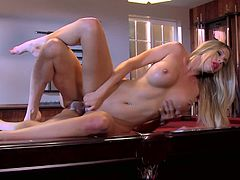Blonde milf fucking a hard cock on a pool table.