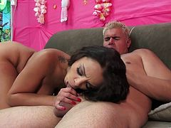 Desirable brunette sweetie stands on her knees and provides cocky stud with awesome blowjob. Then she sits on his face to get her eager fish taco licked.