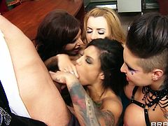 Bonnie Rotten, Christy Mack, Gia Dimarco and Lexi Belle are having a great time with James Deen indoors. The chicks drive James crazy with a great blowjob and jump on his boner by turns.