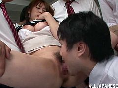 Blindfolded Japanese bitch Shiho is playing dirty games with many men indoors. The guys play with Shiho's cunt, then make her suck and ride their schlongs.