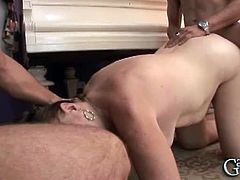 This busty granny has a big bush on her old cunt. Two young fellas slam that nasty hole quite rough. She seems to like getting slammed in this hardcore way.