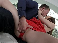 Attractive chick with juicy booty works on hard prick with mouth before getting analyzed in missionary and sideways positions. Thereafter she gets fanalucked doggystyle.