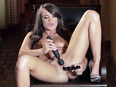 Make sure you see this! A brunette chick, with a nice ass wearing sexy high heels, masturbates with passion in a solo model video.