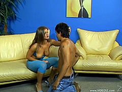 Make sure you check out this pegging scene where the smoking hot babe Rita Faltoyano fucks her man with a large dildo.