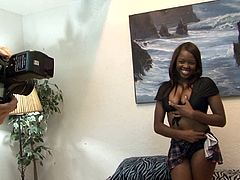 Adorable black diva sucks white cock and rides it in a cowgirl pose. Then she gets her twat pounded doggystyle and in a sideways pose until nerd cums on her face.