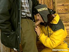 Salacious brunette milf Gina Rouge is playing dirty games with a man near a shed. She gives a blowjob to the guy, then they have anal sex in the reverse cowgirl and other poses.