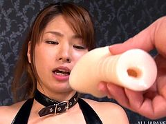 Eri shows off her fine form in her skin tight leather outfit as she gets on top and works herself on this guy's throbbing cock.