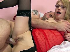 Take a look at this great hardcore scene where these beautiful blondes are fucked by two lucky bastards in a foursome.