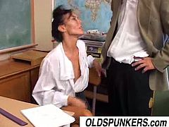 Nancy Vee is a mature teacher. When she gets horny she doesn't care is she's in a classroom or anywhere else. She takes cock in her fuck hole until she's satisfied.