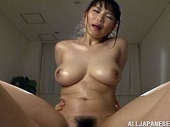 Sexy Japanese babe Akane Yoshinag enjoys two hard cocks up her tight little hairy pussy in this hot MMF threesome with two horny dudes.