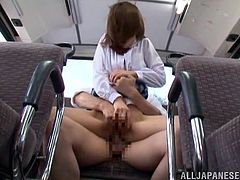 Japanese college girl Nanami Kawakam gets seduced by a stranger in a bus. She gives a blowjob to the dude and they fuck in the cowgirl pose.