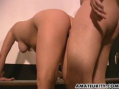 Two very hot busty amateur girlfriend share a cock in this hot homemade hardcore threesome !