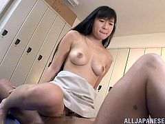 The sexy Japanese babe Sayuki Kanno gets her hairy little pussy screwed hard and ends up taking the guy's hot cum in he
