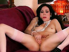 Gorgeous porn diva Aiden Ashley spends her sexual energy alone using sex toy