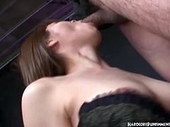 Tied up asian giving head while getting toyed