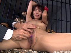 Get a boner by watching this Asian babe, with small boobs wearing panties, while she goes hardcore with a mean officer and moans loudly.
