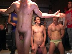 This nasty gay pledges are forced to suck on some big ass cocks and end up taking a rough fuck up their tight little assholes.