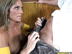 Blonde gets painted with cream on camera for your viewing enjoyment
