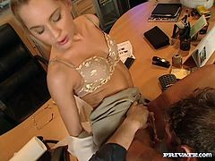 Click to watch this blonde pornstar, with natural boobs wearing nylon stockings, while she goes hardcore with a horny fellow and moans loudly.