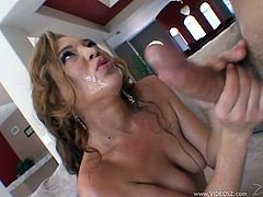 The gorgeous Ashley Gracie takes a big hard cock up her tight little pussy and ends up getting her filthy mouth filled with hot cum.