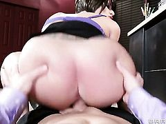 Joslyn James with gigantic knockers gets cummed on after eating Bill Baileys erect dick