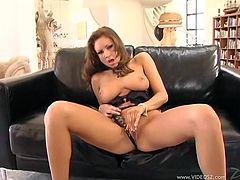 Fucktastic elegant MILF demonstrates her big natural boobs and rubs her shaved cunny. Thereafter she spreads her legs wide and impales her kitty with a dildo.