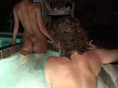 A few nasty girls are playing lesbian games after a party. They have rest in jacuzzi, then show their nude bodies to each other and rub their cunts.