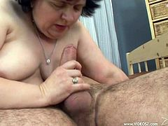 Short haired Bbw granny with big tits gets banged doggystyle in tight fat cunt on brown sheets after giving blowjob in shower