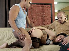 Take a look at this amazing interracial scene where the smoking hot Gabriella Paltrova wears sensual lingerie while sucking on a black monster cock before being fucked in front of her husband.