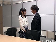 Slutty Japanese girl, Mihono Sakaguc, wearing panties, shows her coochie to a guy and lets him play with it. After that they fuck doggy style and in the missionary pose on a desk.