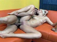 Horny blonde chick Kylee Reese teases her pussy with a huge dildo then gets fucked hard by a huge cock.