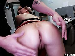 Abbey Brooks with phat booty stimulates mans worm with her hands until he busts a nut