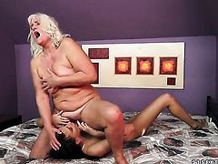 Blonde with massive tits screams in lesbian sexual ecstasy with Lyen Parker