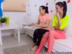 Adorable teens in their freshmen year got some unforgettable experience together with their naughty teacher as they teach them how to make out as lesbians and how to use a huge toy dildo.