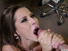 Gorgeous brown-haired bitch Madison Ivy pleases Keiran Lee with a blowjob and a titjob. After that they fuck in the standing pose and also do it in the missionary pose on a desk.