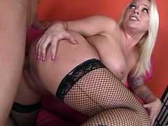 Take a look at this hardcore scene where the busty blonde babe Angel Vain sucks on this guy's thick cock before being drilled until her face's covered by semen.