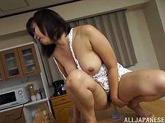 Have fun with this solo scene where the horny mature Asian Aiko Sunakawa plays with her pussy on top of a table as you get a load of her great ass and breasts.