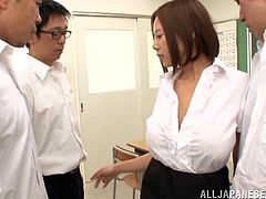 Hot Japanese porn star with big natural tits blows three guys then gives a steamy tit job before getting sprayed with cum on her face