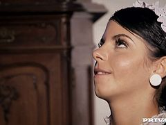 The sexy maid Jessyka Swan gets her precious lips around a big hard cock and ends up getting her tight butthole drilled hard.